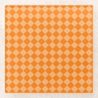 オレンジ組合せのダイヤモンドパターン ガラスコースター