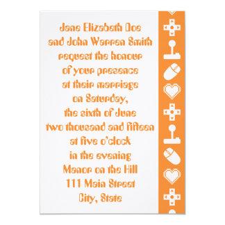 オレンジ結婚式招待状の複数競技者用モード カード
