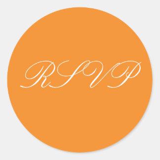 オレンジ結婚RSVPのステッカー ラウンドシール