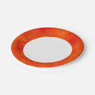 オレンジ継ぎ目が無い質の背景の抽象芸術 ペーパープレート