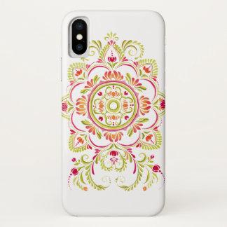 オレンジ緑の民俗花のデザインの電話箱 iPhone X ケース