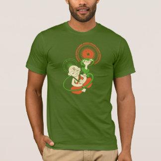 オレンジ緑ベージュOmのバナナ Tシャツ