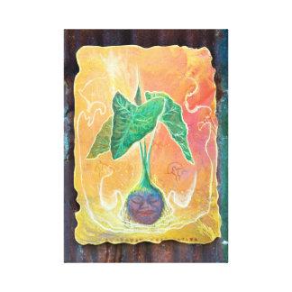 オレンジ背景の母タロイモ キャンバスプリント