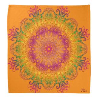 オレンジ背景の民族の花の曼荼羅 バンダナ