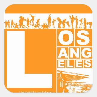 オレンジ色のロサンゼルスポスター スクエアシール