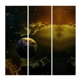 オレンジ色の輝きの暗い地球の眺めのアクリルのトリプティクの芸術 トリプティカ