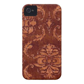 オレンジ花のスパンコールのグリッターのビロードの一見の箱 Case-Mate iPhone 4 ケース