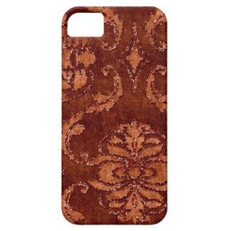 オレンジ花のスパンコールのグリッターのビロードの一見の箱 iPhone SE/5/5s ケース