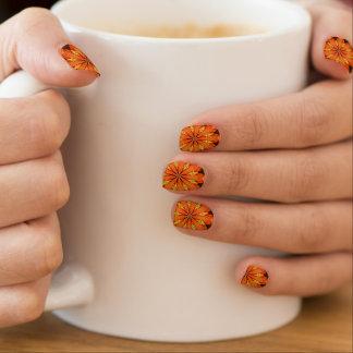 オレンジ花のデザインのMinxのネイル ネイルアート