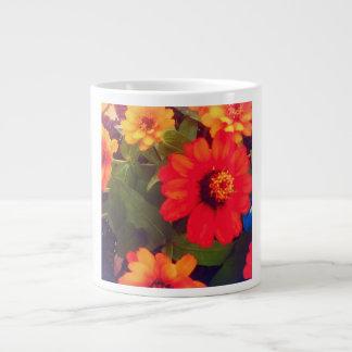 オレンジ花のマグ ジャンボコーヒーマグカップ