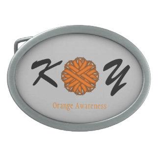 オレンジ花のリボン 卵形バックル