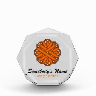 オレンジ花のリボン 表彰盾