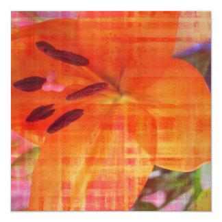 オレンジ花の抽象美術の招待状カード カード