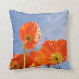 オレンジ花の枕 クッション