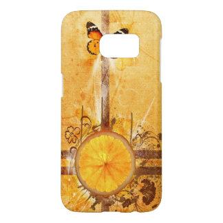 オレンジ花の渦巻の芸術 SAMSUNG GALAXY S7 ケース