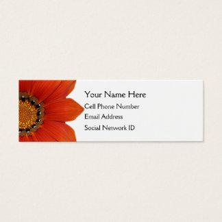 オレンジ花の細いプロフィールカード スキニー名刺