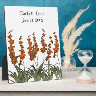 オレンジ花の結婚 フォトプラーク
