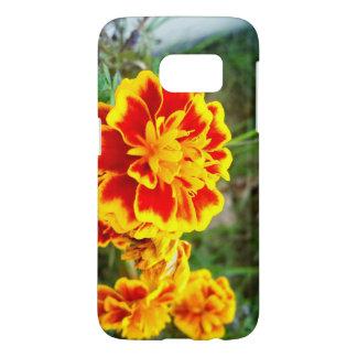オレンジ花のSamsungの銀河系S7の箱 Samsung Galaxy S7 ケース