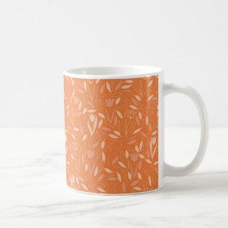 オレンジ花及び葉パターン コーヒーマグカップ