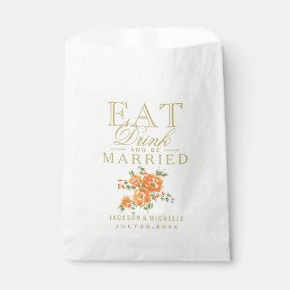 オレンジ花柄は、飲み物食べ、結婚した- DIYの文字です フェイバーバッグ