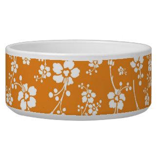 オレンジ花柄 犬用ごはん皿