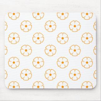オレンジ花模様1のオレンジ マウスパッド