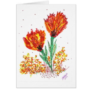オレンジ花 カード