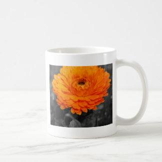 オレンジ花 コーヒーマグカップ