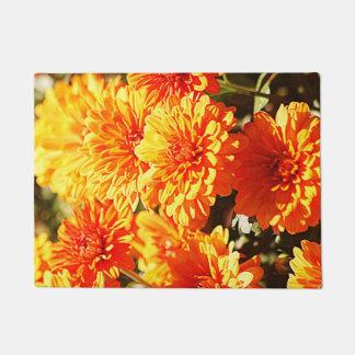 オレンジ花 ドアマット