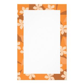 オレンジ花。 レトロの花パターン 便箋