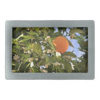 オレンジ花 長方形ベルトバックル