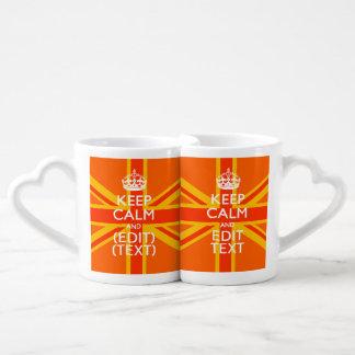 オレンジ英国国旗のイギリスの旗のスワッグ ペアカップ