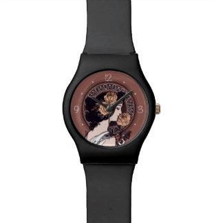 オレンジ茶色のアールヌーボー 腕時計