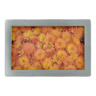 オレンジ菊の花模様 長方形ベルトバックル