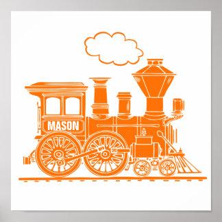 オレンジ蒸気の列車の名前入りな男の子の養樹園の芸術 ポスター