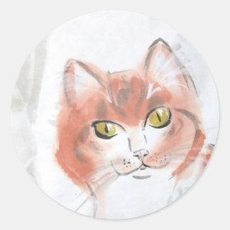 オレンジ虎猫のステッカー ラウンドシール