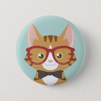 オレンジ虎猫のヒップスター猫のイラストレーション 5.7CM 丸型バッジ