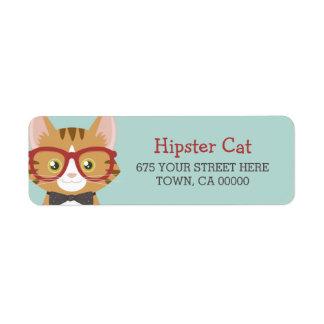 オレンジ虎猫のヒップスター猫の子供 返信用宛名ラベル