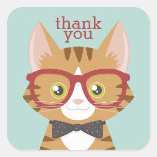オレンジ虎猫のヒップスター猫はステッカー感謝していしています スクエアシール