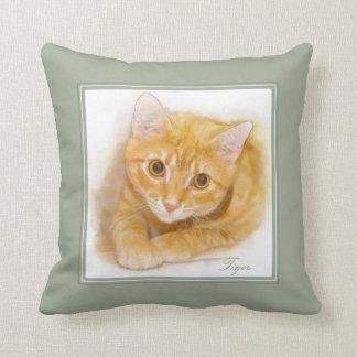 オレンジ虎猫猫の絵画 クッション
