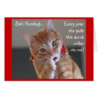 オレンジ虎猫猫の身に着けているジングルベル グリーティングカード