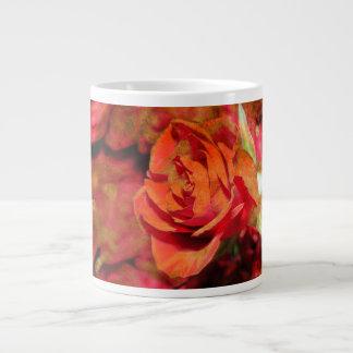 オレンジ蜜柑の赤いピンクのバラのコーヒーの茶マグ ジャンボコーヒーマグカップ