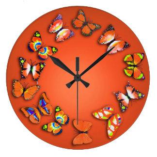 オレンジ蝶ノベルティの柱時計 ラージ壁時計