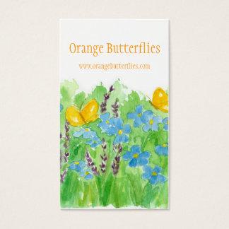 オレンジ蝶名刺の野生の花の芸術 名刺