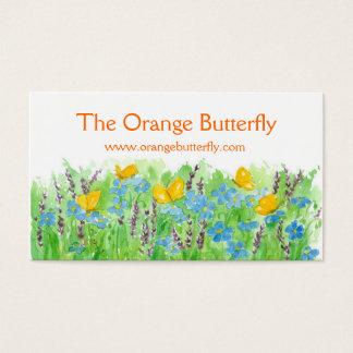 オレンジ蝶名刺の青い野生の花の芸術 名刺