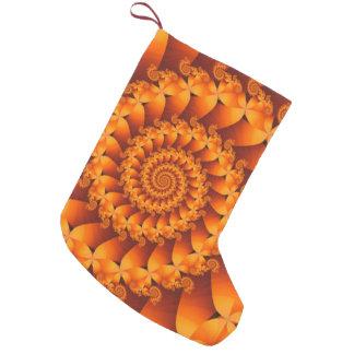 オレンジ螺線形のフラクタルのクリスマスのストッキング スモールクリスマスストッキング