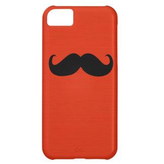 オレンジ赤の背景のおもしろいで黒い髭 iPhone5Cケース