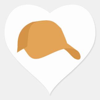 オレンジ野球帽 ハートシール
