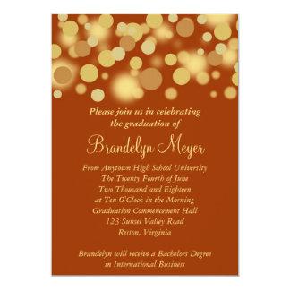オレンジ金ゴールドのお祝いの卒業の発表 カード