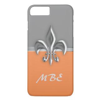 オレンジ銀製の(紋章の)フラ・ダ・リのiPhone 7のプラスの場合 iPhone 8 Plus/7 Plusケース